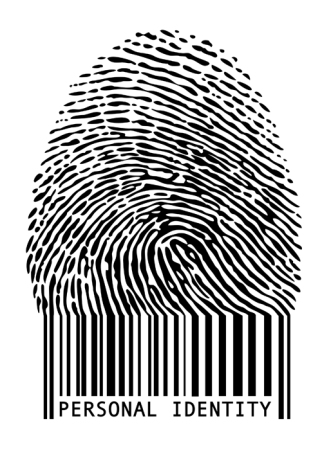 personal identity, fingerprint with barcode, vector